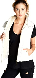 Khanomak Women's Faux Shearling Lined Quilted Padding Hoodie Vest