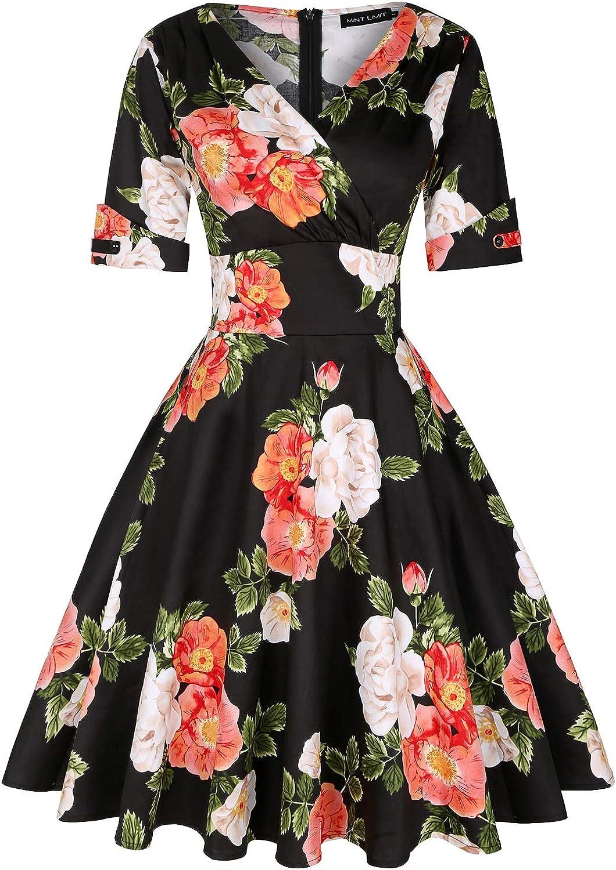 MINTLIMIT Women's 1950s Vintage Wrap V Neck Half Sleeve Retro Floral Cocktail Dresses A-line Swing Dress