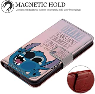 DISNEY COLLECTION Apple iPhone Xr (2018) [6.1in] Wallet Cover Case Stitch Disney Ohana Family Forgotten Sad Depressed Love Alone Happy Magnetic Absorption