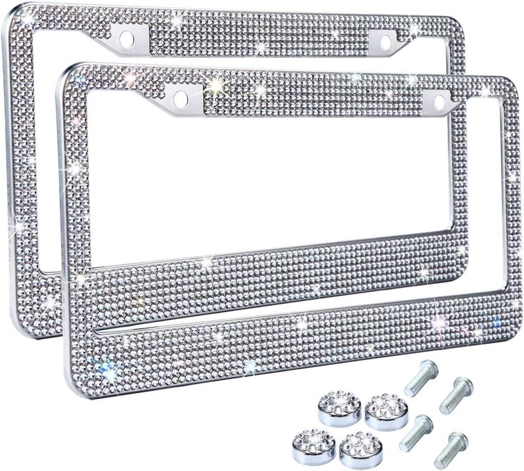 Tzarrot White Rhinestone Bling License Plate Frame for Women Metal Rust-Proof Diamond License Plate Frame Bling Car Accessories for Women Girls 2 Frames