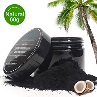 Activated Charcoal Teeth Whitening Powder- 100% Natural Organic Coconut Tooth Whitener Powder for Stains, Tartar, Yellow Teeth and Bad Breath- Safe for Enamel, Sensitive Teeth-60g