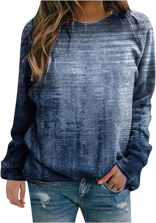 Womens Long Sleeve Tops,Womens Long Sleeve Sweatshirts Crewneck Vintage Tie Dye Printed Plus Size Autumn Pullover