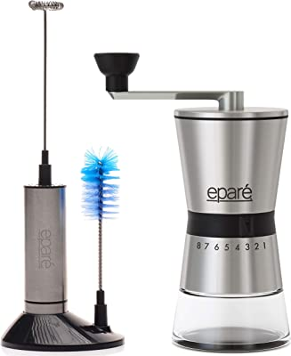 Eparé Bundle: Milk Frother & Manual Coffee Grinder: Single Shot Cup Double Wall Italian Demitasse Cups & Portable Ceramic Burr Hand Crank Mill