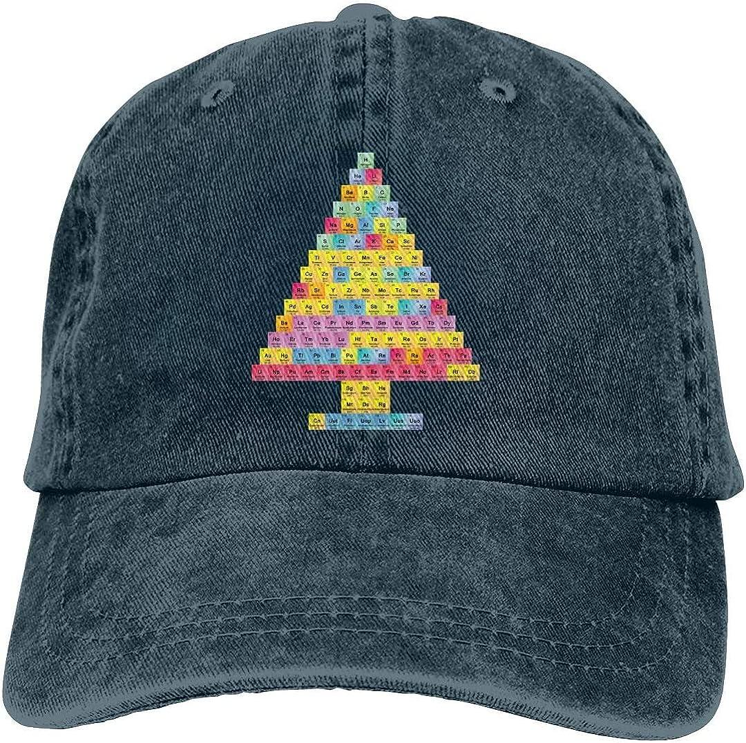 KEQU Christmas Tree Periodic Table Chemis Tree Retro Adjustable Cowboy Denim Hat Unisex Hip Hop Black Baseball Caps Adjustable