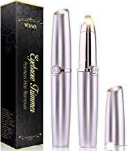 2019 Upgraded   Eyebrow trimmer for women & men, Painless & Portable & Precision Electric Trimmer with LED Light, Eyebrow Hair Remover, Eyebrow Razor   Rose Gold (Batteries not Included)