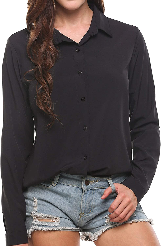 Zeagoo Womens Chiffon Button Down Shirts Long Sleeve Collared Blouses Business Casual Dress Shirt S-XXL