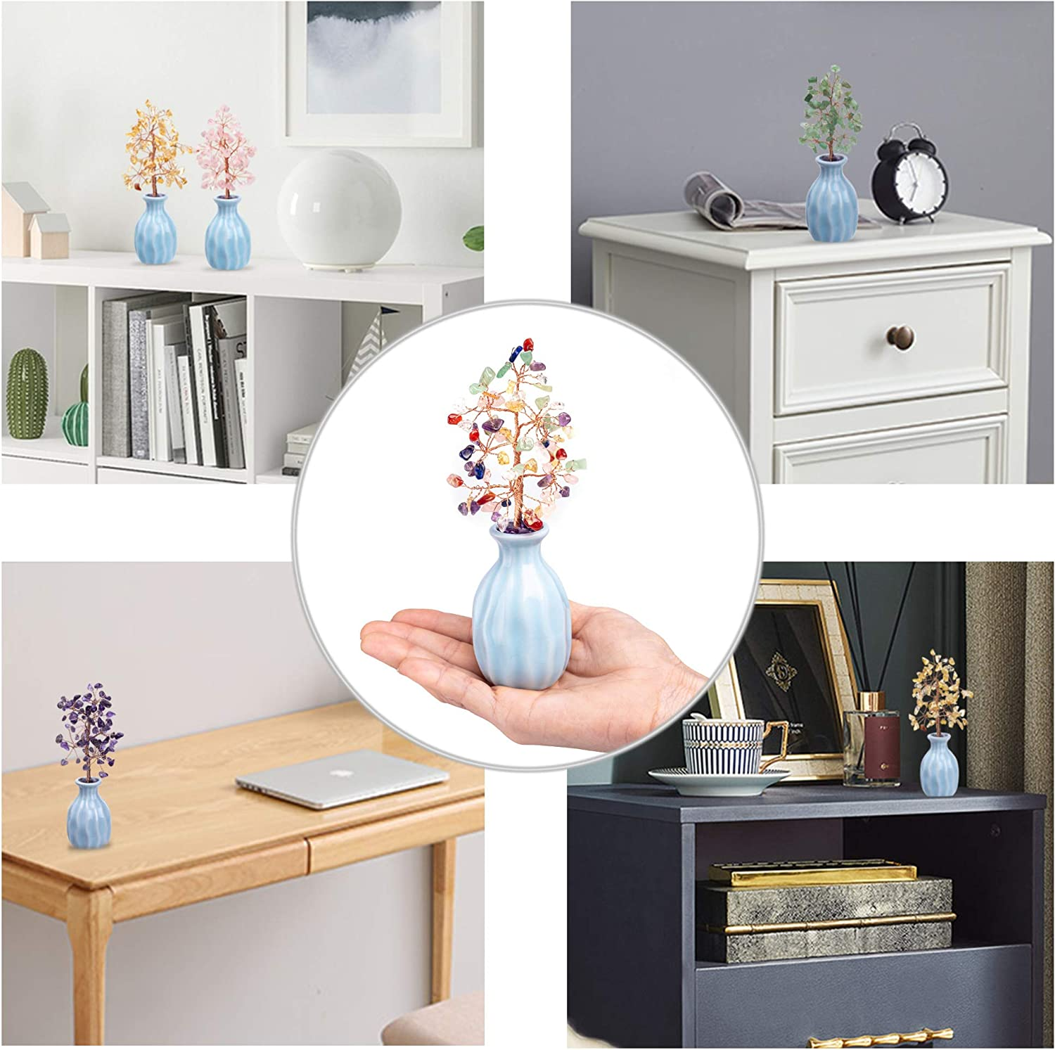 UFEEL Natural Citrine Chakra Healing Crystal Tree of Life Handmade Gemstones Copper Money Tree Wrapped On Blue Ceramics Vase for Home Office Table Decor Feng Shui Luck Figurine