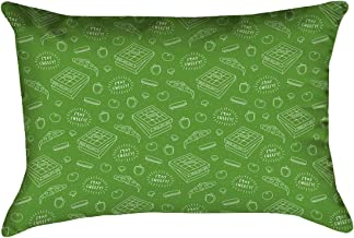 """ArtVerse Katelyn Elizabeth Green Pizza Pattern 14"""" x 20"""" Cotton Twill Double sided print with concealed zipper & Insert Pillow, Multi Colored"""