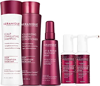 Keranique Deep Hydrating Hair Growth Kit – 60 Days | Keratin Amino Complex, Free of Sulfates, Dyes and Parabens | Deep Hydrating Shampoo & Conditioner, Dual Minoxidil, Lift and Repair Treatment Spray