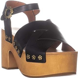 6bedc34386 Coach Nessa Platform Ankle Strap Sandals, Black Leather, 9 US