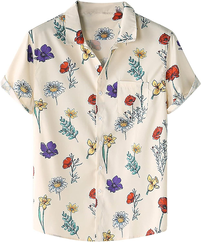 Hawaiian Shirts for Men Short Sleeve Aloha Beach Shirt Floral Summer Tee Tops Mens Casual Button Down Shirt