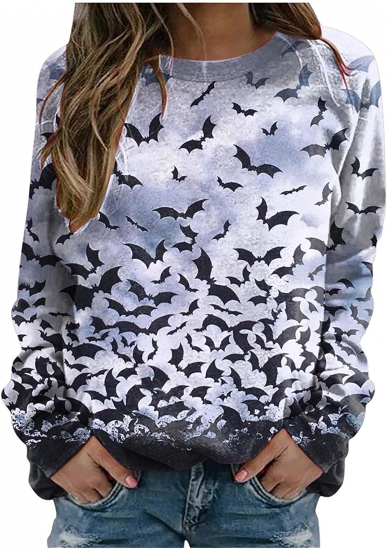 Halloween Crewneck Sweatshirt for Sacramento Mall Women Casual 2021 model Sleeve Tunic Long