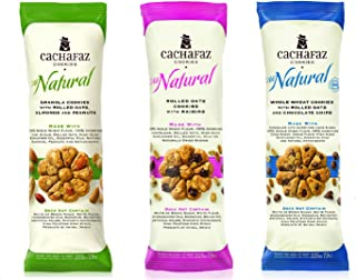 Cachafaz All Natural Whole Wheat Cookies Pack of 3 Best Selling Flavors (Granola-Raisins