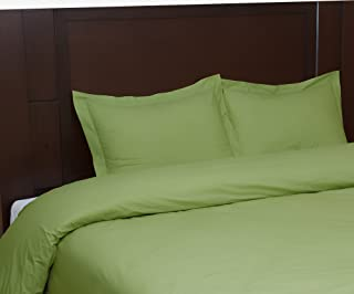 Tribeca Living Egyptian Cotton Percale Solid Duvet Cover Set, Queen, Green