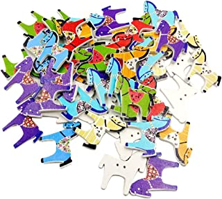 Potelin Premium Quality 50Pcs Cute Horse Wooden Buttons DIY Sewing Scrapbooking Hand Craft Accessory - Random Color