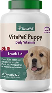 NaturVet VitaPet Puppy Daily Vitamins Plus Breath Aid for Puppies, 60 ct Time Release, Chewable Tablets, Made in The USA