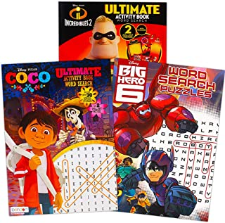 Disney Pixar Word Search Puzzles Activity Book Set with Stickers -- Bundle Includes 3 Books for Kids Featuring and Pixar F...