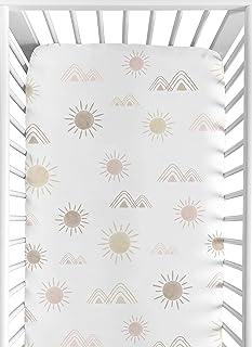 Sweet Jojo Designs Boho Desert Sun Girl Fitted Crib Sheet Baby or Toddler Bed Nursery - Blush Pink Mauve Gold Taupe Bohemi...