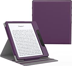 MoKo Case Fits All-New Kindle Oasis (9th and 10th Generation ONLY, 2017 and 2019 Release), Multi Angle Viewing Vertical Flip Cover with Auto Wake/Sleep - Purple