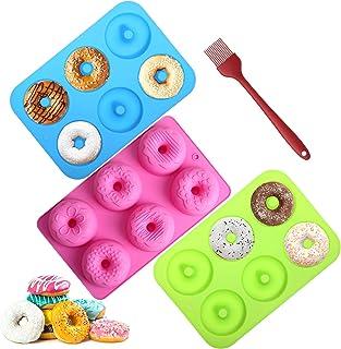 Aitsite 3 Lot de Moules à Donuts en Silicone, Donuts Moule, Antiadhésif et résistant à la Chaleur Silicone Patisserie Moul...