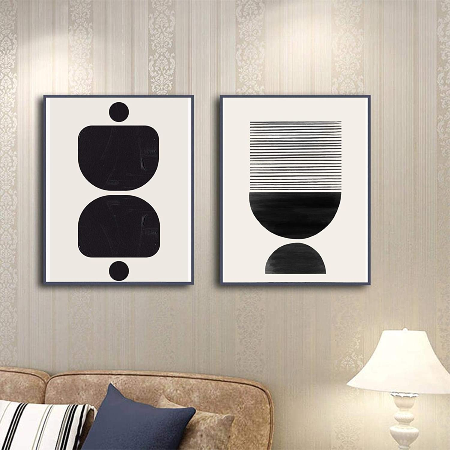 Canvas Painting Geometric Color Block Poster White Abstrac Black List gift price