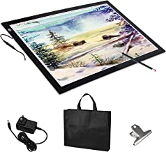 Voilamart A2 LED Light Box Tracer, 12V Ultra Bright 3-Level Dimmable Brightness, Ultra-thin LED Tracing Art Craft Light Pad Light Board with Carry Case, for Artists Drawing Tattoo Sketching Animation