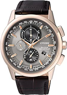 Citizen 西铁城 男士手表 电波控制 计时表 石英表 皮革 AT8113 – 12H