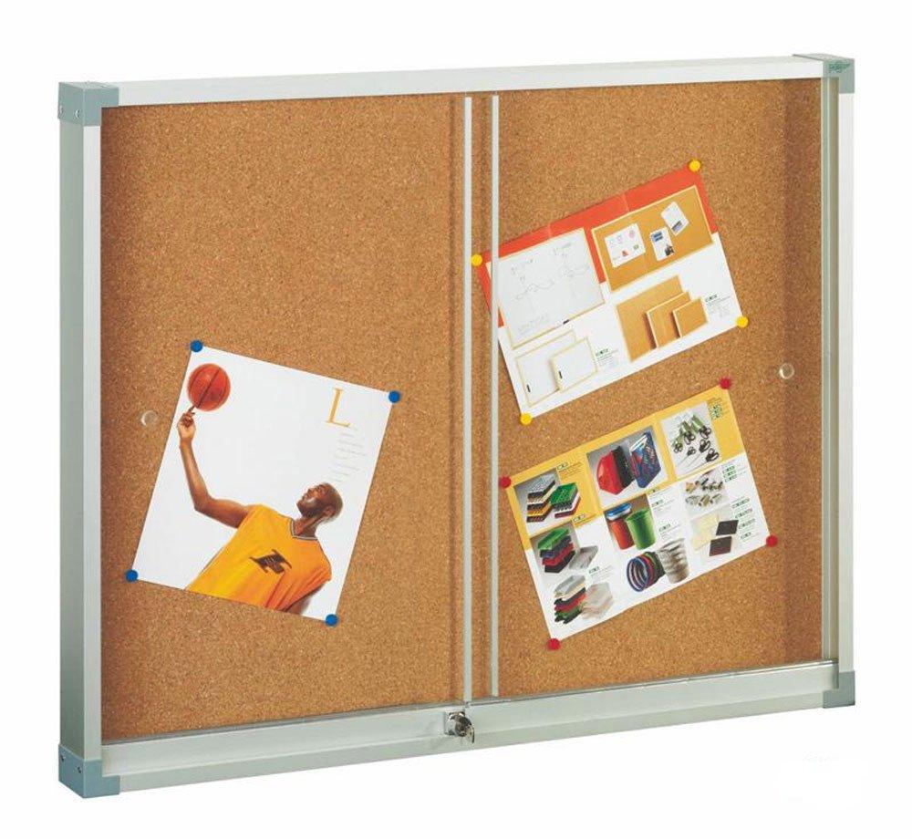 Faibo 614-2U - Vitrina de corcho, puerta corredera, 80 x 100 cm,: Amazon.es: Oficina y papelería