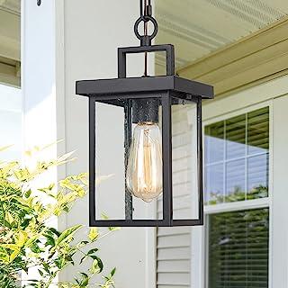 LALUZ Outdoor Pendant Light Fixture, Exterior Hanging Lantern, 1-Light Outdoor Chandelier Lamp in Black Finish with Seeded...
