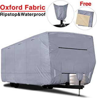 """RVMasking Upgraded 100% Waterproof Oxford Travel Trailer RV Cover, Fits 28`7"""" - 31`6"""" RVs - Easy Installaiton Anti-UV Ripstop Camper Cover with Tongue Jack Cover & Adhesive Repair Patch"""