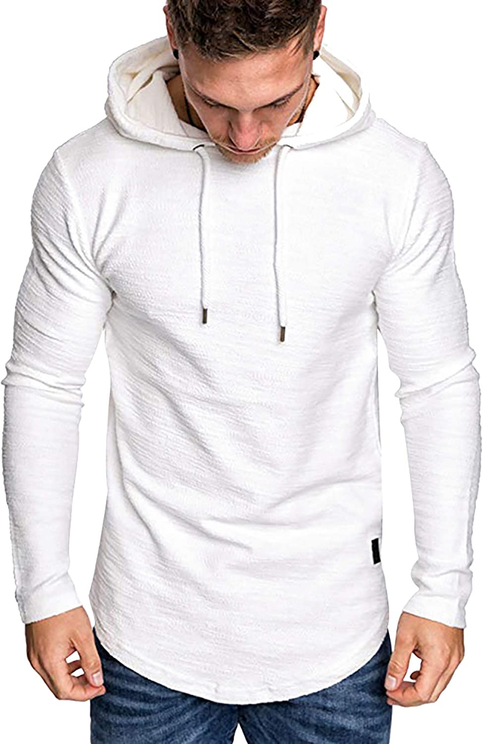 Mens Casual Hooded Pullover Athletic Solid Color Hoodie Lightweight Sweater