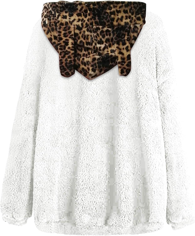 BCDlily 2021 Women's Pullover Fuzzy Fleece Sweatshirt depot Cute Ea Leopard