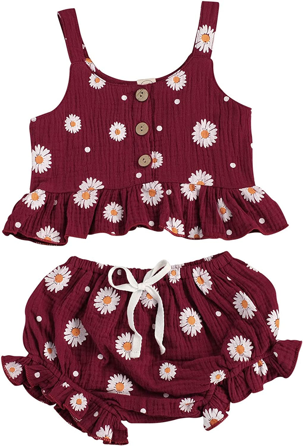 Toddler Baby Girl Summer Clothing Floral Strap Ruffle Top and Shorts Set 2 PCS Outfits