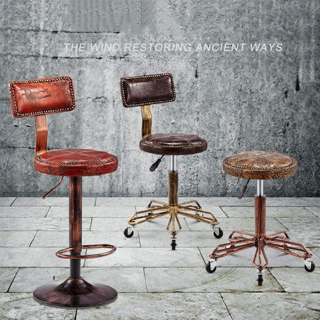WZF Tabouret de Salon de Style Industriel Vintage Hauteur Réglable Roulante Pivotante Chaise de Bureau Massage Spa Tabouret Chaise avec Roues (Coussin en Cuir PU), Rouge Brown2