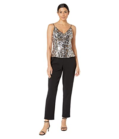 Adrianna Papell Animal Print Sequin Jumpsuit with Crepe Pants (Beige/Black) Women