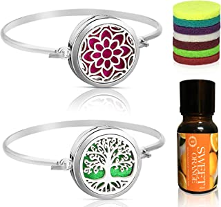 Tree of Life & Lotus with Sweet Orange Aromatherapy Essential Oil, Diffuser Bracelet Set Pendant Locket Jewelry, Stainless Steel Perfume Gift Present for Girls/Women