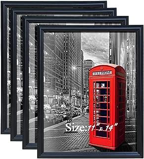PETAFLOP 11x14 Pictrure Frame Fits Prints 11 x 14 inch Black Poster Frame, Pack of 4
