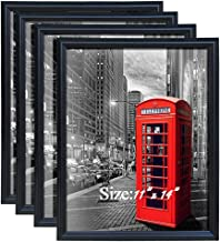 11×14 Picture Frame Fits Prints 11 x 14 inch Black Poster Frame, Pack of 4