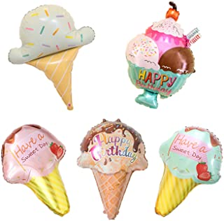 5PCS Kawaii Ice Cream Food Balloons Summer Pool Baby Shower Birthday Themed Party Supplies Decorations