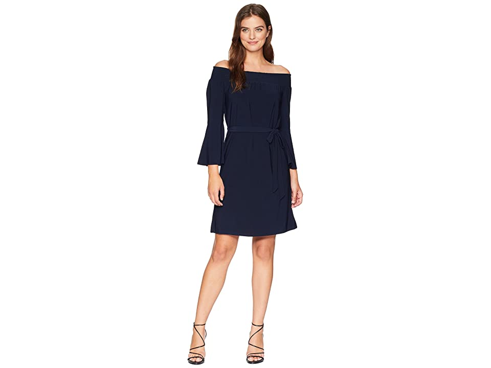 Tahari by ASL Off the Shoulder Long Bell Sleeve Shift (Navy) Women