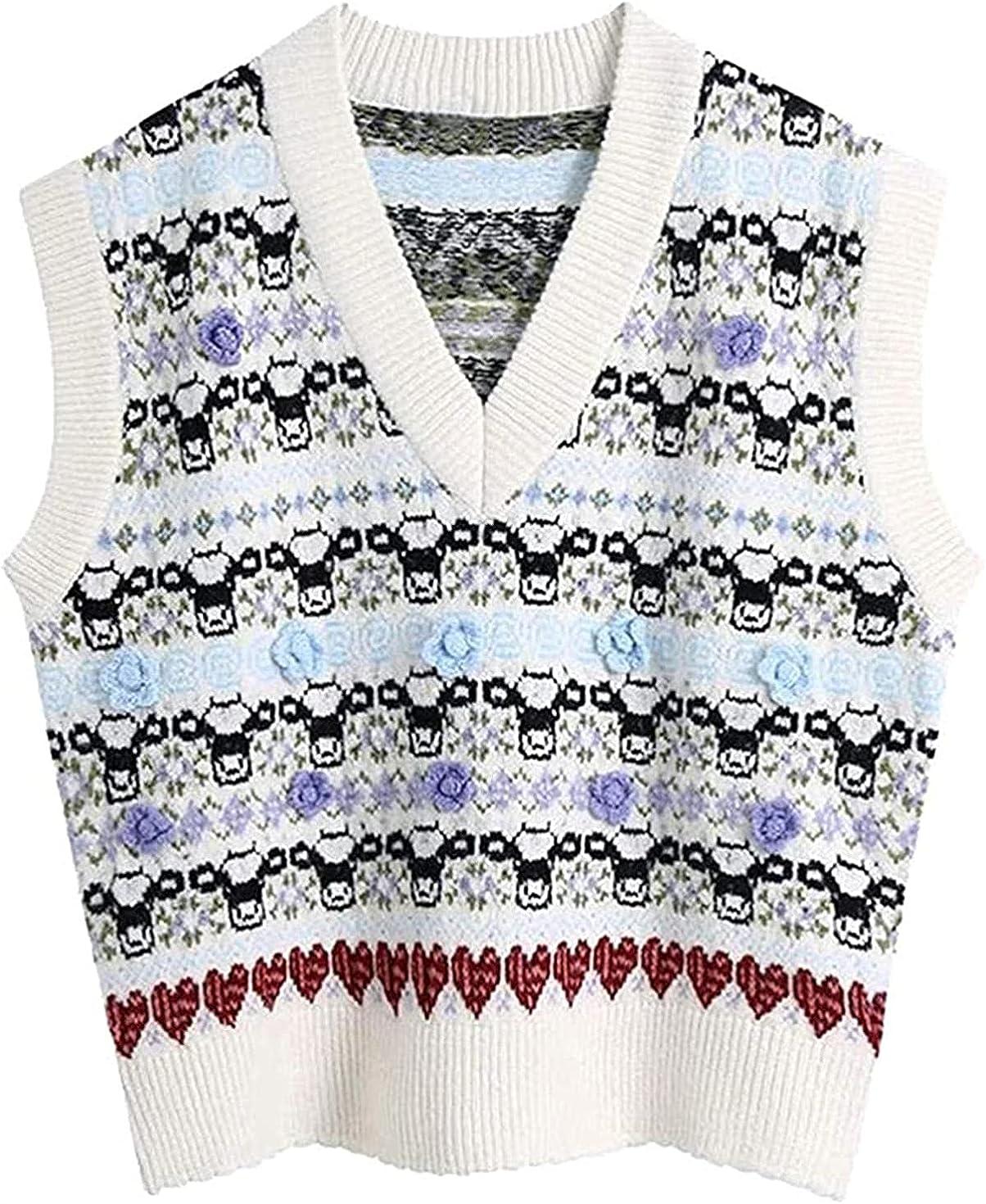 Women Fashion Floral Jacquard Loose Raleigh Mall Neck Sweater Vintage Super Special SALE held V Vest