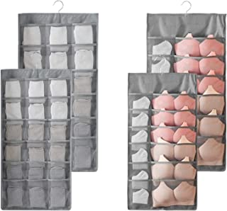 2PCS Rangement à Suspendre Sac Organisateur de sous-vêtements pour Armoire Double-Face Penderie Placard Cintre étagères po...