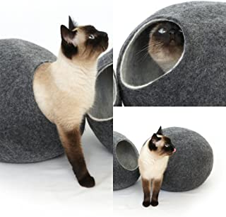 猫ベッド、ペットハウス、洞穴、うたた寝用の繭(コクーン)、100%ウールの100%ハンドメイド、Kivikis製 ダークグレー色 [並行輸入品]