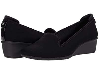 Anne Klein Winnefred Wedge (Black Stretch) Women