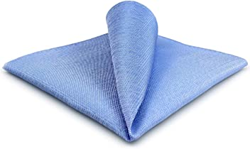 SHLAX/&WING Ripple Blue Mens Pocket Square Silk Hanky Business Wedding Gift