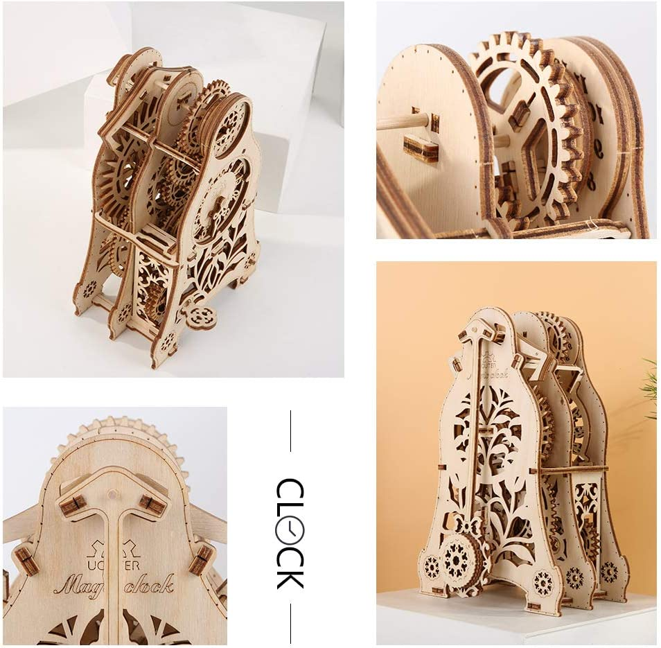 ROOMLIFE 3D Wooden Puzzle Clock Model Kits for Adults Mechanical Gears Pendulum Clock Puzzle Desk Table Clock Making Kit Laser-Cut Wood Crafts DIY Construction Toy Building Set Children Gift