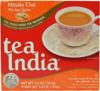 Tea India Masala Chai Tea, 72 Tagless Tea Bags, 5.8-Ounce Boxes (Pack of 6)