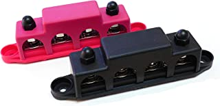 """Bay Marine Supply Busbar – 4-Post Stainless Steel 5/16"""" Stainless Power Distribution Block - 250A Rating - Pair of Red & B..."""
