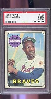 1969 Topps #100 Hank Aaron Atlanta Braves PSA 2 (MC) Graded Baseball Card MLB