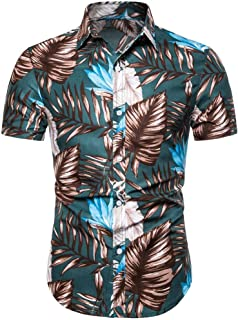Summer Casual Blouse Fashion Mens 3D Color Print Trend Color Short-Sleeved Shirt